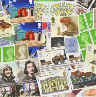 £30 Face Value Bag of Mixed GB Postage Stamps up to 68p